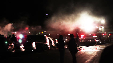1614 Big Car Fire in Parking Lot with Fire Trucks Footage
