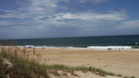 1626 Beach with Long Grass Blue Skys and Ocean Wav Footage