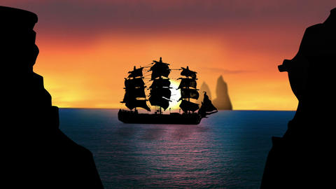 Pirate/Colonial Sailboat at Sunset, HD Footage