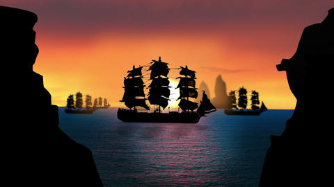 1640 Pirate/Colonial Sailboat at Sunset, HD Footage