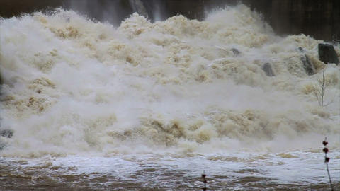 1468 Dam at Flood Stage White Water Rapids, Slow M Stock Video Footage