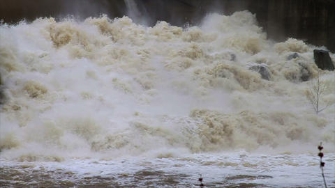 1468 Dam at Flood Stage White Water Rapids, Slow M Footage