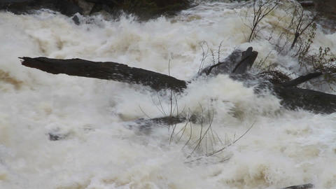 1477 Dam at Flood Stage White Water Rapids Footage