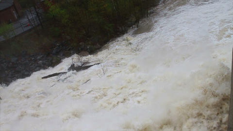 1485 Dam at Flood Stage White Water Rapids, Slow M Footage