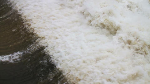 1487 Dam at Flood Stage White Water Rapids, Slow M Footage