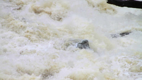 1489 Dam at Flood Stage White Water Rapids, Slow M Stock Video Footage