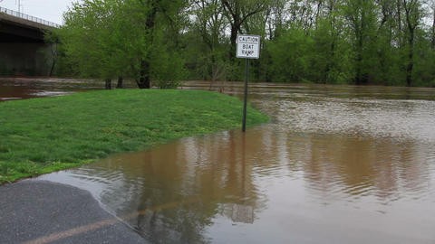 1494 Fast Moving River at Flood Stage Flooding Footage