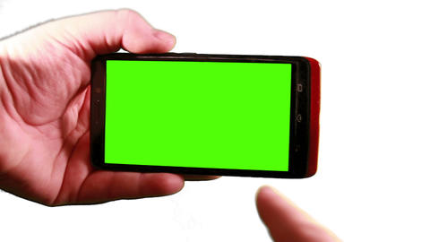 Using A Smart Phone With A Green-Screen stock footage