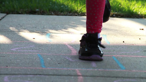 1303 Child Playing Hopscotch, Slow Motion Footage