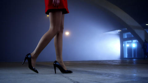 Elegant Woman Walk stock footage