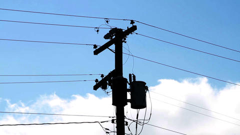 1359 Power Lines with Blue Skys Stock Video Footage