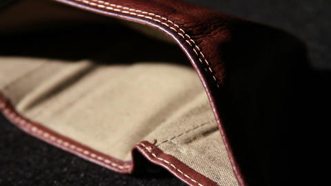 1372 Leather Wallet Empty with No Money Stock Video Footage