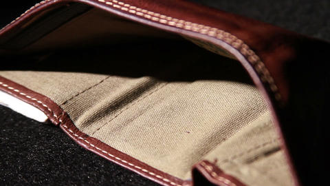 1372 Leather Wallet Empty with No Money Footage