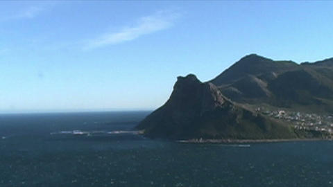 1399 Mountians by Ocean at the Tip of Africa Stock Video Footage