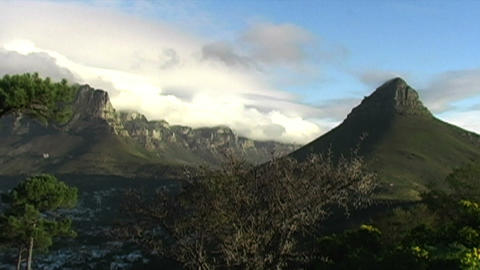 1428 Mountian and Sunset in Cape Town South Africa Footage
