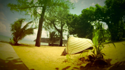 Retro look tranquil beach scenery Stock Video Footage