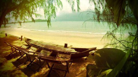Retro Look Tranquil Beach Scenery stock footage