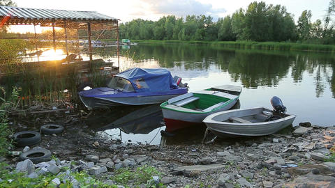 Boat dock , river view Stock Video Footage