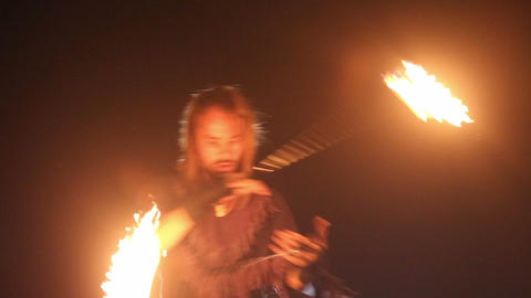 bearded man in fire performance Footage