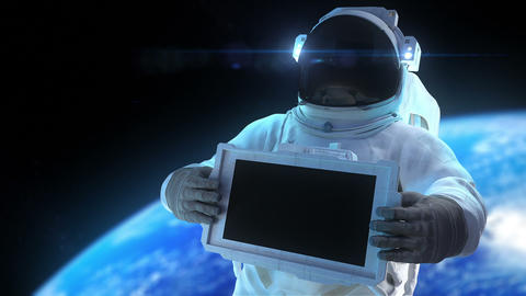 Astronaut With Display stock footage