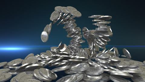 Silver Coins + Alpha Stock Video Footage