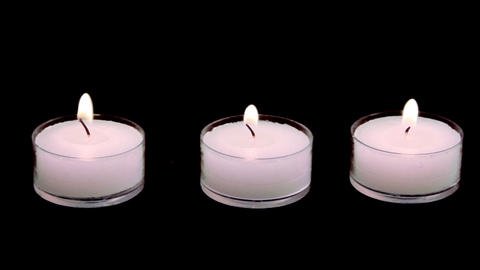 1029 White Candles on Fire with Alpha Channel Stock Video Footage