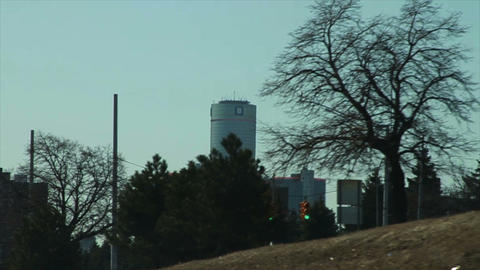 1085 Driving By Church and GM Building, Slow Motio Stock Video Footage