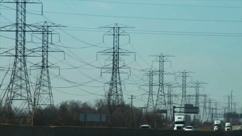 1095 Truck Driving by High Power Lines, Slow Motio Footage