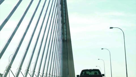 1103 Driving on Bridge, Slow Motion Stock Video Footage