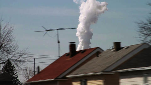 1106 Factory with Smoke Stakes Releasing Smoke by Stock Video Footage