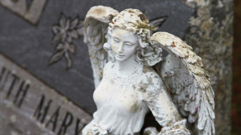 1110 Stone Angel Next to Grave Stone Footage