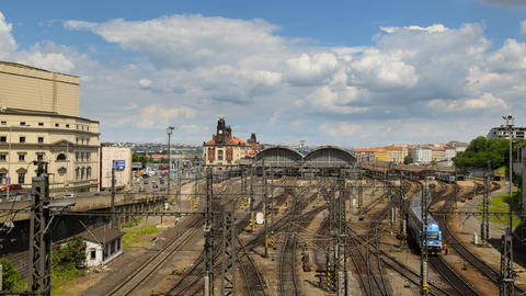 prague train station traffic time lapse pan 11442 Footage