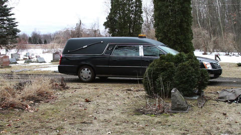 1117 Hearse Funeral Vehicle at Grave Yard Stock Video Footage