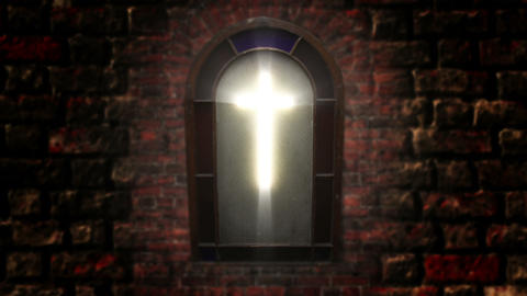 1140 Church Stain Glass Cross, HD Footage