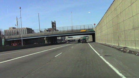 1143 Driving Through Detroit Michigan on Highway,  Footage