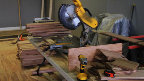 1160 Miter Saw , Sawing into Oak Wood Stock Video Footage