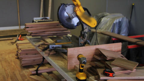 1160 Miter Saw , Sawing into Oak Wood Footage