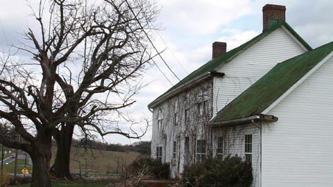 1173 Old Farm House with Old Trees Footage