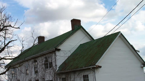 1177 Old Farm House with Old Trees Stock Video Footage