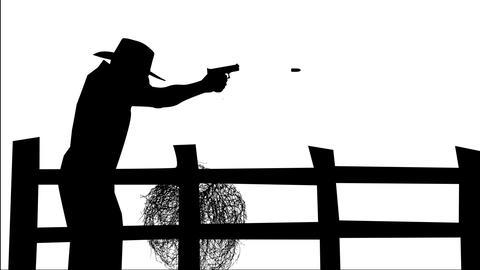 1196 Man Firing Gun Animation Silhouette, HD Footage