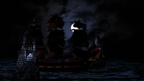 Pirate/Colonial Sailboat Fighting At Night