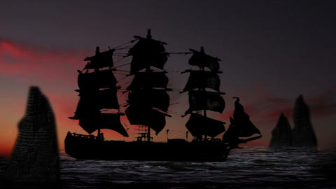 Pirate/Colonial Sailboat Fighting At Night 0