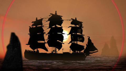 Pirate/Colonial Sailboat at Sunset Footage