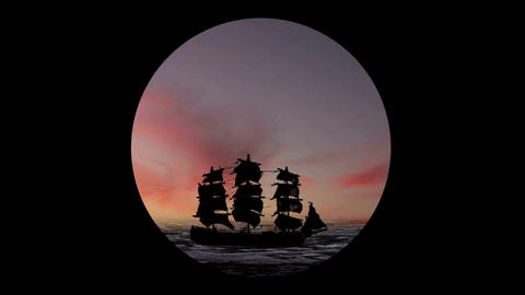 Pirate/Colonial Sailboat Fighting At Night 2