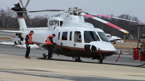0928 Helicopter being Fulled with Gas with Truck Stock Video Footage