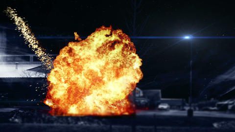 0948 Car Blowing Up At Night By Warehouse With Hea stock footage