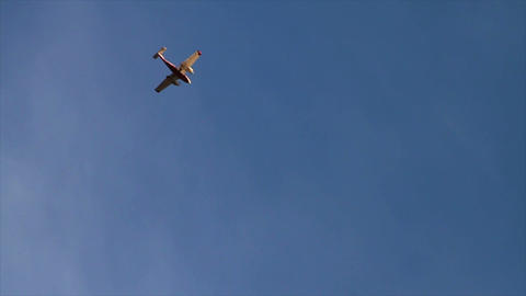 0960 Airplane Flying and Making a Turn in the Sky Stock Video Footage
