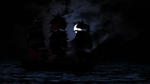 0964 Pirate/Colonial Sailboat at Night Footage