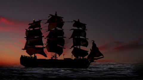0966 Pirate/Colonial Sailboat at Sunset Footage