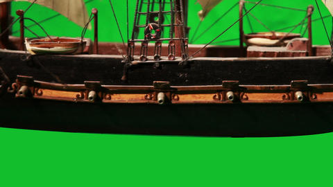 0972 Pirate Sailboat with Green Screen Stock Video Footage